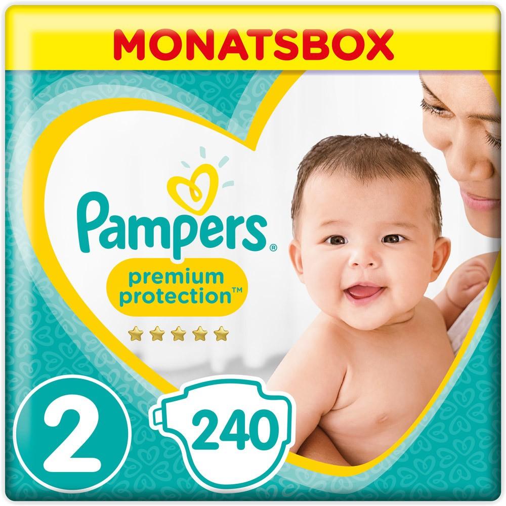 Premium Protection Windeln Größe 2 (4-8 kg) Mini Monatsbox 240 Stück, Gr. 2, 3-6 kg