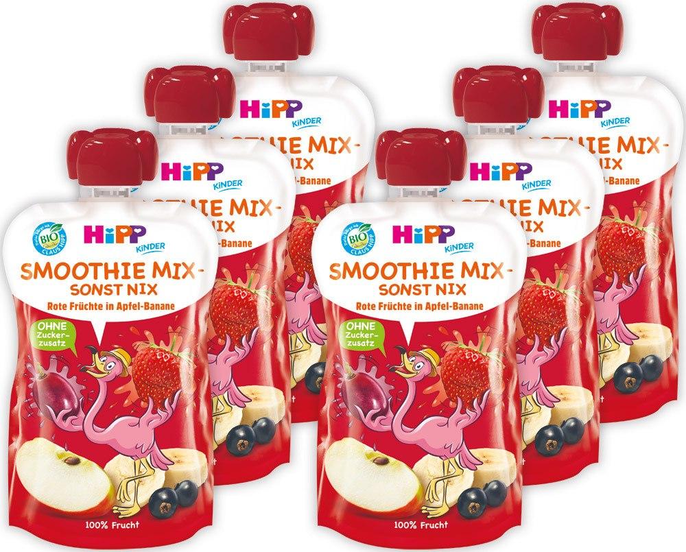 HiPP Kinder Smoothie Mix  Rote Früchte in Apfel-Banane (120ml), 6 Stück