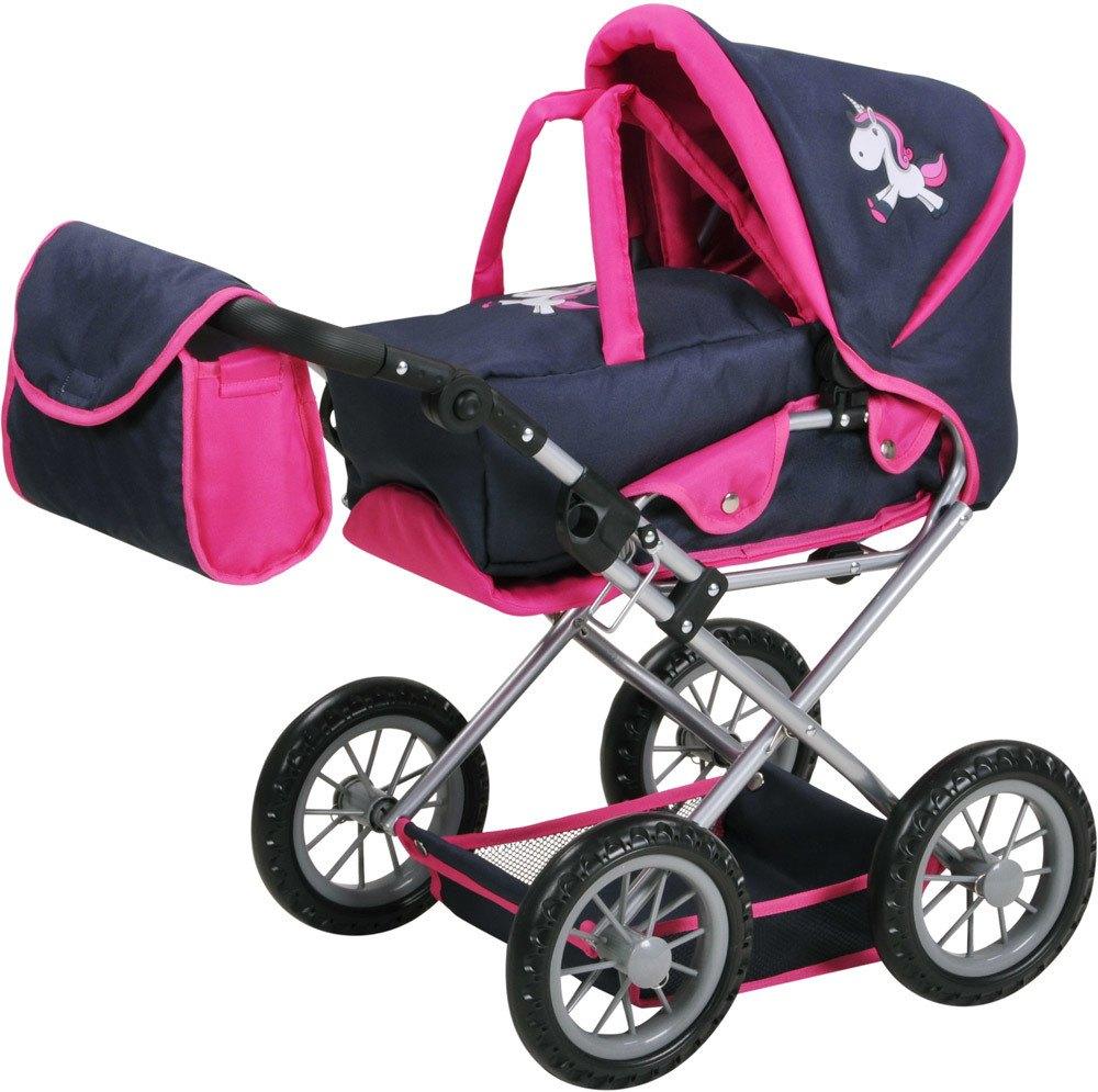 Puppenkinderwagen NEU Knorrtoys Puppenwagen Ruby Uma das Einhorn Blau-Pink